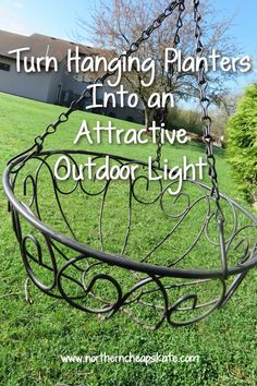 Turn Hanging Planters Into an Attractive Outdoor Light – DIY Solar Light Craft Ideas For Home and Garden Lighting Outdoor Chandelier, Outdoor Lighting, Lighting Ideas, Backyard Lighting, Chandeliers, Diy Chandelier, Outdoor Crafts, Outdoor Projects, Outdoor Ideas