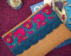 Green Floral Clutch Bohemian Clutch Boho Bag by BOHOCHICBYDAMLA