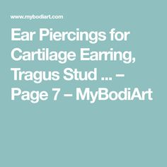 Ear Piercings for Cartilage Earring, Tragus Stud ... – Page 7 – MyBodiArt