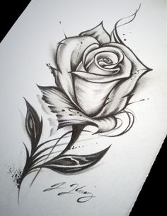 Rose tattoo drawing just things that are so cool! in 2019 tattoo drawings - Drawing Tips Pencil Art Drawings, Art Drawings Sketches, Tattoo Sketches, Easy Drawings, Tattoo Drawings, Body Art Tattoos, Best Sketches, Sketch Art, Rosa Tattoos
