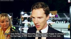 "At the New York premiere of PENGUINS OF MADAGASCAR on November 16, 2014, Benedict Cumberbatch explains why he chose to publish a traditional newspaper announcement of his engagement to theater director Sophie Hunter : ""So, if I was living a life in obscurity, I'd be equally happy to announce my marriage to the most incredible woman I've ever met."" [Video/GIF]"
