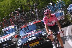 Tom Dumoulin (Team Sunweb) in the cars after losing the wheels of his GC rivals. Losing just over a minute to Quintana and the pink jersey by the end of the day. Stage 19 Giro d'Italia 2017.