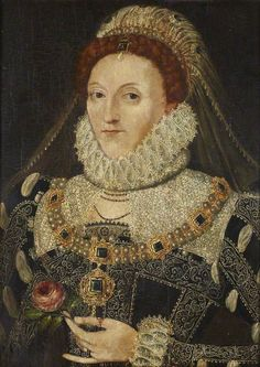 Queen Elizabeth I . The Queen is holding a rose in an ostentatious manner. This is because the rose is one of the principal symbols associated with the Virgin Mary (with particular reference to her purity). This is Elizabeth as the Virgin Queen. Los Tudor, Tudor Era, Elizabethan Costume, Elizabethan Era, Elizabethan Fashion, Tudor History, British History, Enrique Viii, Isabel I