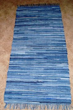 Loom woven rag rug, recycled denim, 5 ft long, Made in USA Jean Crafts, Denim Crafts, Tapetes Diy, Denim Rug, Denim Ideas, Recycle Jeans, Recycled Denim, Rug Making, Handmade Rugs