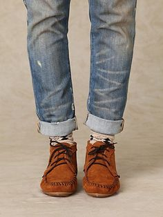 Moccasins, rolled jeans