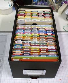 My Favorite Things Design Team Creative Chat - what a great storage idea, will have to try this.  I already have pre-cut card bases on hand by colour family.