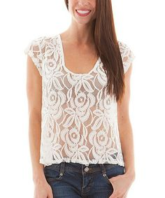 Another great find on #zulily! White Sheer Lace Floral Top #zulilyfinds