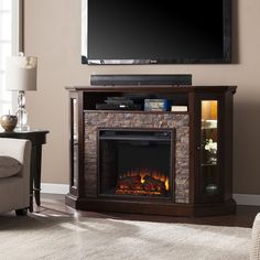 Boston Loft Furnishings 52.25-in W Espresso/Faux Durango Stone LED Electric Fireplace with Thermostat and Remote Control