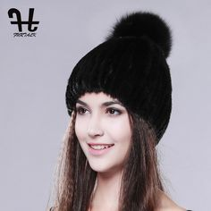 FURTALK real mink fur hats for women winter knitted mink fur cap with fox fur pom poms 2016 hot sale brand new warm female hat #Affiliate