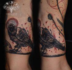 #black #and #red #custom #tattoo #art #crow #edgar #allan #poe