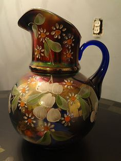 Pre 1940 Fenton Handpainted Floral Carnival Glass Water Pitcher Daisey Daisy | eBay