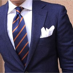 Mr. Zaccone wearing The OTAA Navy Blue / Brown Necktie & White Cotton Pocket Square @danielre #lookingsharpmate  OTAA.COM