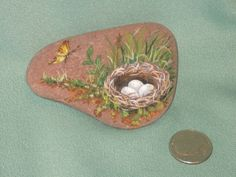 Original Hand Painted Rock Bird Nest Butterfly Rock Art | eBay