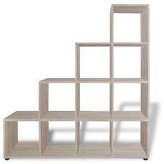 Staircase Bookcase Bookshelf Display Storage Box Unit Cubes White/Oak 2 Sizes Staircase Bookshelf, Staircase Storage, Wood Staircase, Wood Bookshelves, Bookcase Shelves, Wood Shelves, Storage Shelves, Book Display Shelf, Wood Display