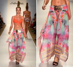 Cover up at the beach with this printed maxi skirt.