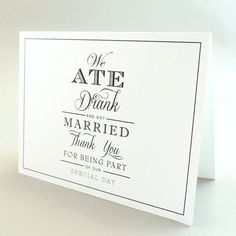 Kate Suite  Eat Drink & Be Married Thank You Card  by JPstationery, $2.50