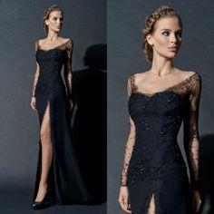 Black Lace Arabic Evening Gowns Dresses Sheath Scoop Neckline Long Illusion Sleeves Beads High Split Formal Dress