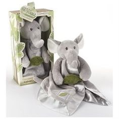 ASP1007: Features: -Plush toy-Plush, beautifully detailed gray lovie with elephant's head and trunk-Front legs holding a sound-making, green crinkle leaf and tail on the back-Stylized corrugated top with a green-satin ribbon and coordinated tag-Polyester lovie can be surface-washed. Includes: -Gift presentation includes a safari-themed box with jungle-like trees and leaves, adorable graphics and poems on the back. Color/Finish: -Include baby-safe embroidered eyes, cream-colored satin ...