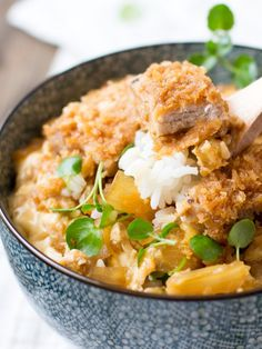 Katsudon | This Japanese-inspired dish consists of panko-crusted pork cutlets coated in a sweet and tasty onion, egg, and soy sauce mixture. Serve over Mahatma Jasmine Rice for a delicious dinner idea.