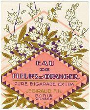 Original old French Orange Blossom perfume label circa 1929 J. Giraud Fils Paris