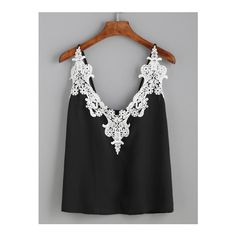 Black Embroidered Lace Applique Cami Top ($17) ❤ liked on Polyvore featuring tops, shirts, black, embellished tank tops, lace shirt, spaghetti strap tank tops, lace tank top and beach tank tops