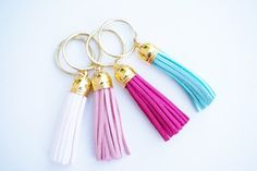 Luxe Leather Tassel Keyring by DolceAve on Etsy