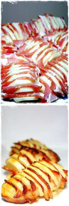 All you do is peel whole potatoes, cut them all across, not too thin, and not all the way through, sprinkle with some salt, but not too much, the bacon is salty. Then fill with small bacon slices in between. Bake in a pan with some oil until potatoes are fully cooked, and serve! Bake for 90 mins @ 200 Degrees