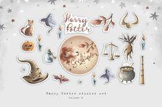 Harry Potter sticker set Gryffindor stickers Hogwarts Harry Potter Stickers, Personal Planners, Erin Condren, Travelers Notebook, Filofax, Hogwarts, Bullet, Place Card Holders, Watercolor