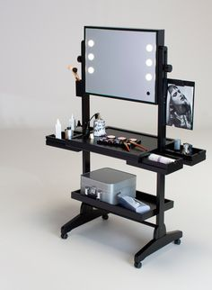L400 WHEELED LIGHTED VANITY TABLE FULL MIRROR AND LATERAL DRAWERS. Wheeled Make up Stations. Cantoni for makeup schools. An Italian handmade product, vanity table in laquered beechwood, with full mirror, tilting and height adjustable, pivoting wheels and more. #makeupstations #handmade #wheels
