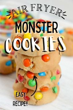 Air Fryer Monster Cookies are soft, chewy, and packed with sensational flavors. Made in your air fryer, they are an easy, sweet treat! #airfryercookies #loadedcookies Brown Sugar Roasted Carrots, Holiday Recipes, Party Recipes, Thing 1, Baking Flour, Easy Cookie Recipes, Barbecue Recipes, Mini Chocolate Chips, Pinterest Recipes