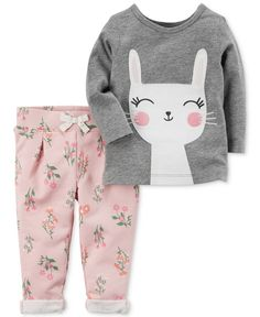 Carter's Bunny T-Shirt & Floral-Print Pants Set, Baby Girls months) - Gray 24 months Baby Girls, Baby Girl Pants, Trendy Baby Girl Clothes, Baby & Toddler Clothing, Baby Girl Fashion, Kids Fashion, New Baby Dress, Dress Girl, Floral Print Pants
