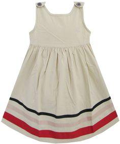 Girls Dress Beige School Summer Size 2-6 Years