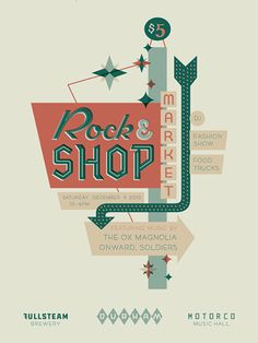 Rock & Shop hand lettered type poster by Ketchup and Mustard