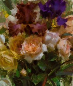 """Roses and Iris"" - SOLD 12x10 oil ©Daniel J. Keys 2014 ©This image is under strict copyright to the artist and may not be reproduced in any form"