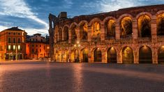 The amphitheatre at dusk time, Piazza Bra and Roman Arena in Verona, Italy, b6ec196374580e72455fbfb6db5911ec