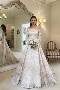 Modest Lace Bridal Gown Off-the-Shoulder Long Sleeves Wedding Dress - Wedding Dresses Fantasy Wedding Dresses, Modest Wedding Gowns, Elegant Wedding Dress, Best Wedding Dresses, Country Wedding Dresses, Bridal Dresses, Wedding Gown A Line, Long Sleeve Wedding, Wedding Dress Sleeves