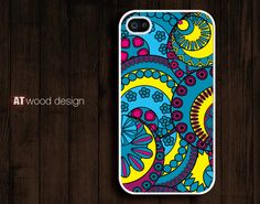 iphone 4 cover case for iphone 4s iphone 4s case classic  illustration colorized graphic blue yellow design. $13.99, via Etsy.