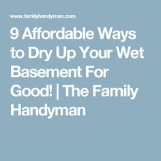 9 Affordable Ways to Dry Up Your Wet Basement For Good!   The Family Handyman