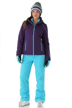 Vernicia in violet with turquoise zippers on her jacket.