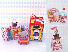 Kit festa Circo    os itens que estão no kit são:    10 caixa milk  10 caixas bala  10 caixas para tubete  10 latinhas  10 cone piramide  10 Porta mini chocolate duplo  10 sushi box  10 caixa de pipoca           Se quiser alterar algum item é só entrar em contato através