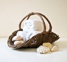 Vintage Woven Basket with Handle by BeeJayKay on Etsy, $28.00