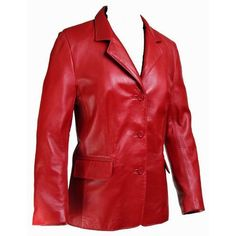 Ladies Josephina Lipstick Red Leather Coat - Clearance Medium Size