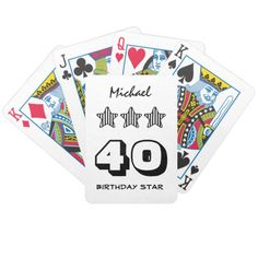 40th Birthday or ANY AGE Striped Stars Custom Name Deck Of Cards   To see more customizable striped Jaclinart gift items:   http://www.zazzle.com/jaclinart+striped+gifts?st=date_created&ps=120  #stripes #striped #pattern #jaclinart #design #create