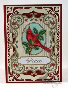 JustRite Christmas Cardinal Background Stamp and Christmas Labels Twenty Two