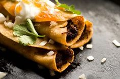 A recipe for shredded beef flautas can be found here:   http://www.epicurious.com/ recipes/food/views/Shredded-Beef-Flautas-13587      Hints: I use a lot more cumin than suggested.  Also, it is very important to warm the corn tortilla before trying to roll it up.  I usually warm by sprinkling some water on the tortilla, letting it soften in a hot pan, then roll it around the shredded beef and secure it with a toothpick.   And serving it with guacamole is a MUST.
