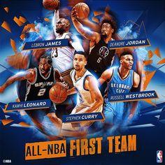 ALL-NBA First team: Curry, Westbrook, Kawhi, LeBron y DeAndre Jordan
