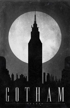 """Gotham City"" poster, referencing Batman, part of the series ""Comic Book Travel Posters."" Concept by Justin Van Genderen. Batman Poster, Batman Hq, Batman Arkham City, Batman Arkham Knight, Batman Robin, Comic Poster, Batman Wall Art, Superhero Poster, Riddler Gotham"