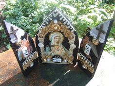 Ave Maria wood triptych shrine OOAK by jenuineserendipity on Etsy, $113.00
