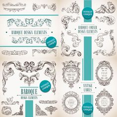 4 Sets of vector decorative baroque design elements in classic vintage style with floral frames, decorative borders, corners and dividers for your embellishment of vintage cards, wedding invitations, brochures, etc. Format: EPS, Ai stock vector clip art and illustrations. Free…