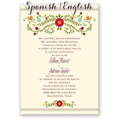 Wedding Invitations Spanish wedding invitations Invitation